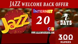 JAZZ Welcome BACK 20 GB DEVICE OFFER