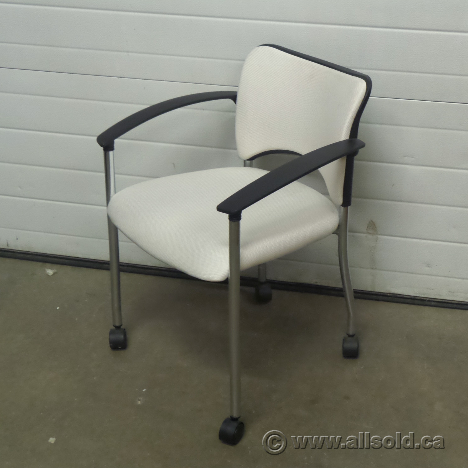 White Rolling Chair Teknion Amicus Series White Rolling Guest Chair Allsold