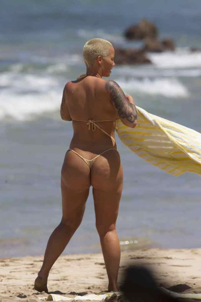 Amber Rose Big Ass in Tiny Thong Bikini