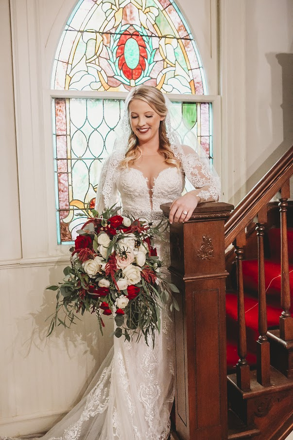 Bride on stairwell at All Souls Church scott Arkansas - Ashley Duncan Photography