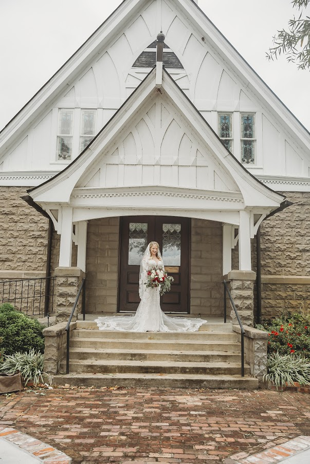 Bride outside of All Souls Church scott Arkansas 2 - Ashley Duncan Photography