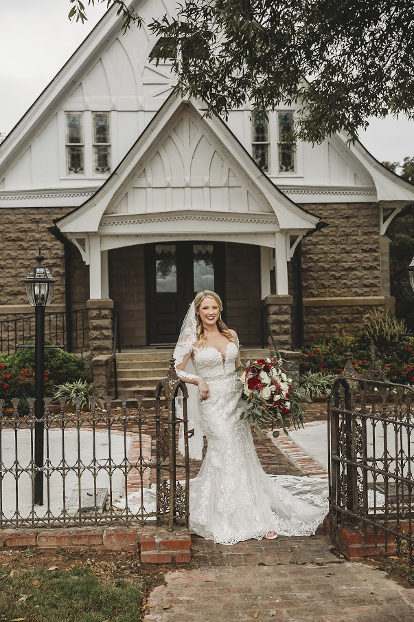 Bride outside of All Souls Church scott Arkansas - Ashley Duncan Photography