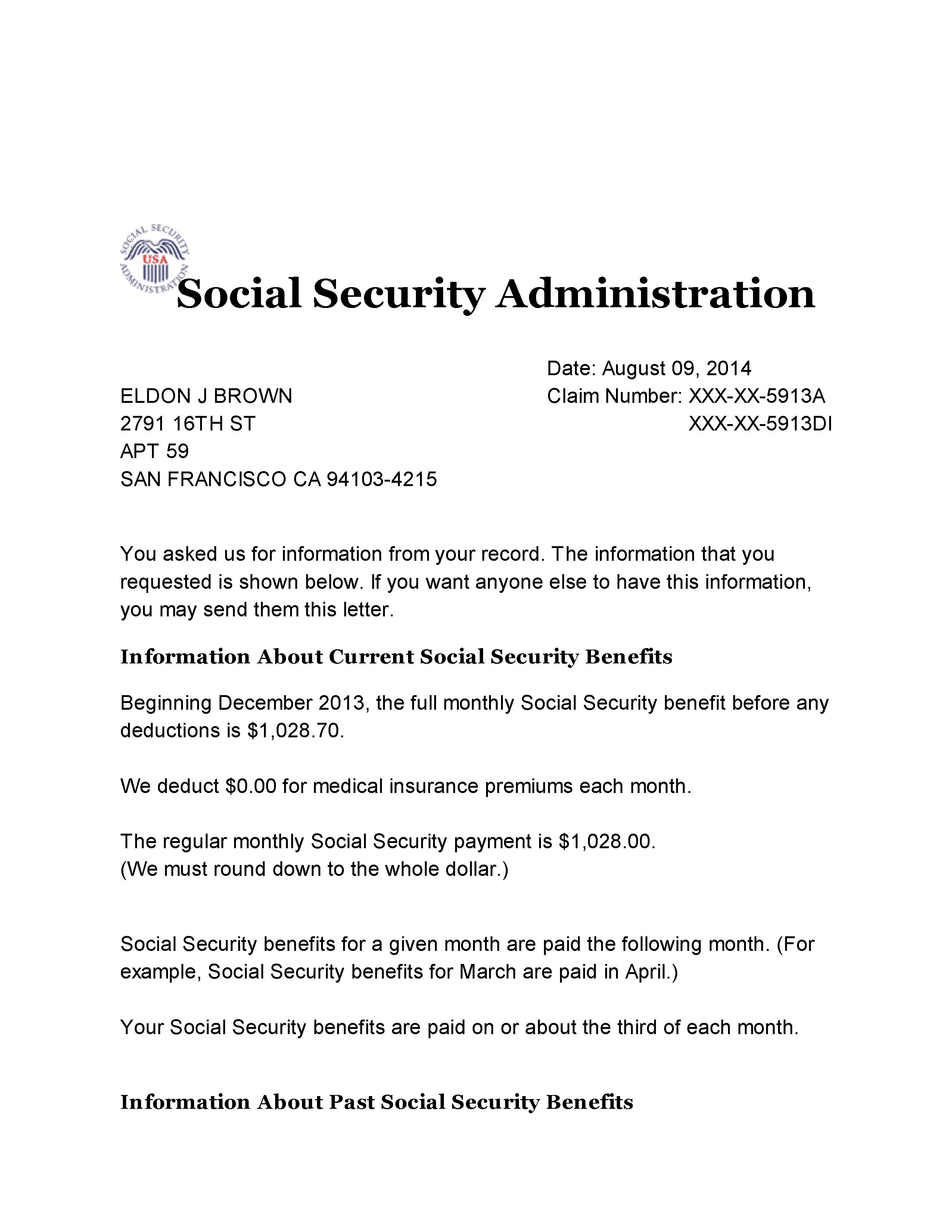 Social Security Benefits Verification Letter 001