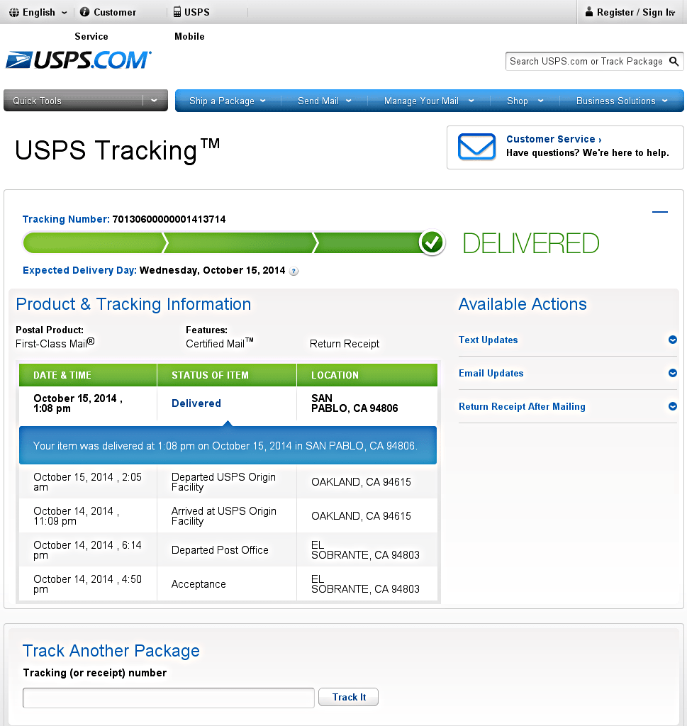 Usps Tracking Letter | CV Writing Services