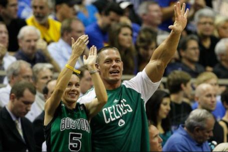 Elizabeth Huberdeau and her ex-husband, John Cena cheering up for Boston Celtics.