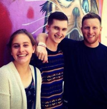 Jay Harbaugh with his brother, James and sister, Grace