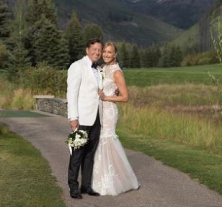 Richard McVey on the day of his wedding with his wife, Lara Spencer