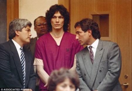 Richard Ramirez, center, with attorneys, Randall Martin, right and Daro Inouye,
