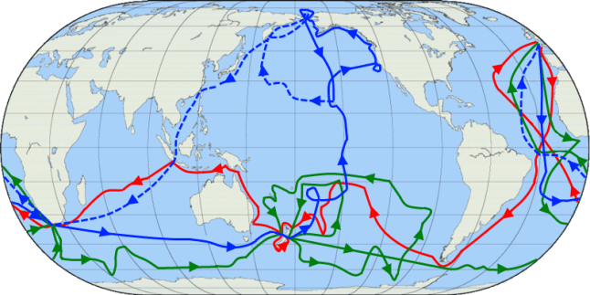 The routes of Captain James Cook's voyages. The first voyage is shown in red, second voyage in green, and third voyage in blue. The route of Cook's crew following his death is shown as a dashed blue line.