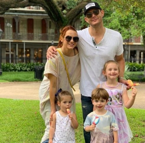Jensen Ackles with his family at New Orleans, Louisiana