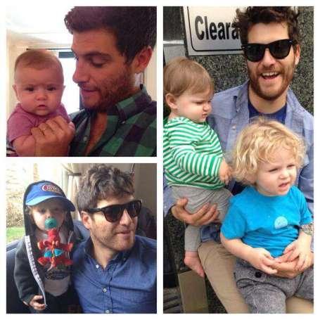 Adam Pally with his children.