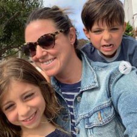 Courtney Hazlett and her children in point dume, Malibu