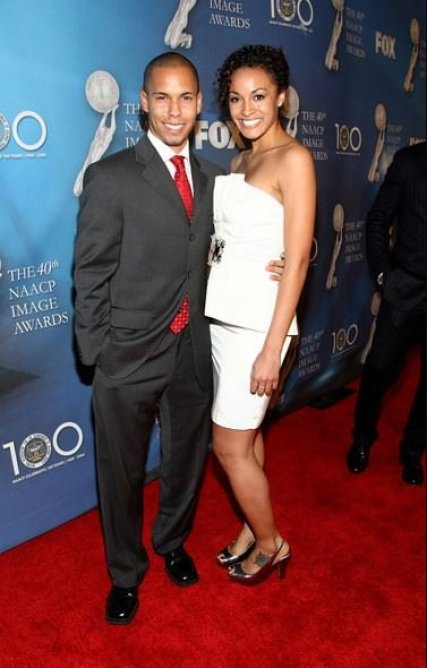 Bryton McClure with his wife, Ashley Leisinger arrived at the 40th NAACP Image Awards held at the Shrine Auditorium on 12th February 2009, in Los Angeles, California.