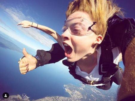 Zoe De Grand Maison while skydiving.