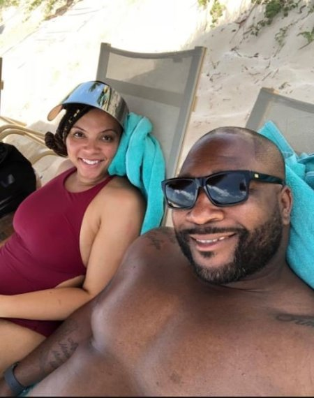 Marcus Spears with his wife, Aiysha Smith.