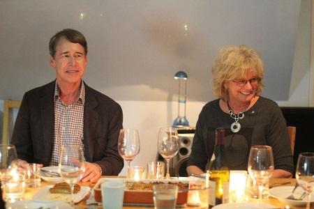 Linda Schuyler and husband having a dinner