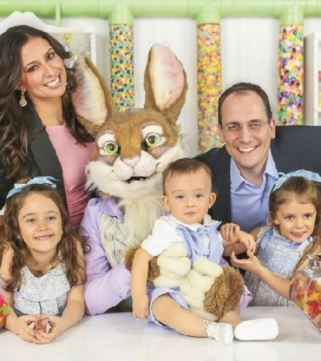 Julie Banderas with her husband and children