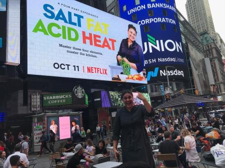 Samin promoting her Tv show