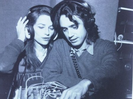 Jean-Michel Jarre and his third wife, Charlotte Rampling while recording.