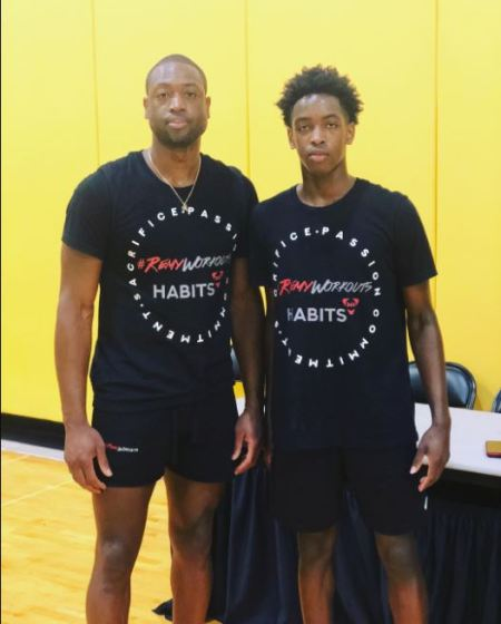 Zaire Blessing Dwayne Wade playing basketball with his father, Dwayne Wade.