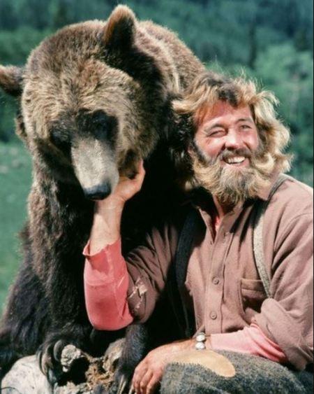 "Dan Haggerty with Bozo ""Ben"" the Grizzley Bear."