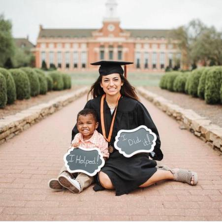 Crystal Espinal with her son on her garducation