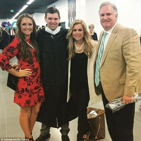 Sean Tuohy Jr. with his family on his garducation