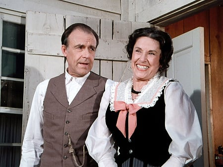 Katherine MacGregor and her Little House on the Prairie co-star Richard Bul