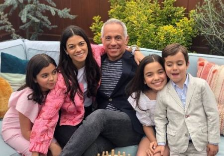Margaret Anne Williams with her husband, Geoffrey Zakarian and their children in New York City, New York.