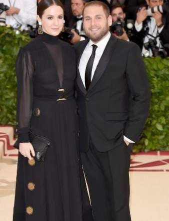 Sara Moonves on the red carpet with Jonah Hill at the Metropolitan Museum of Art in NY on 7 May 2018