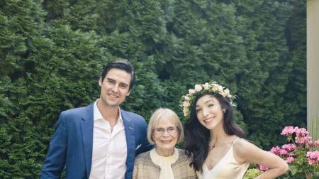 Meryl Davis, Fedor Andreev, and his grandmom, Marian Andreev