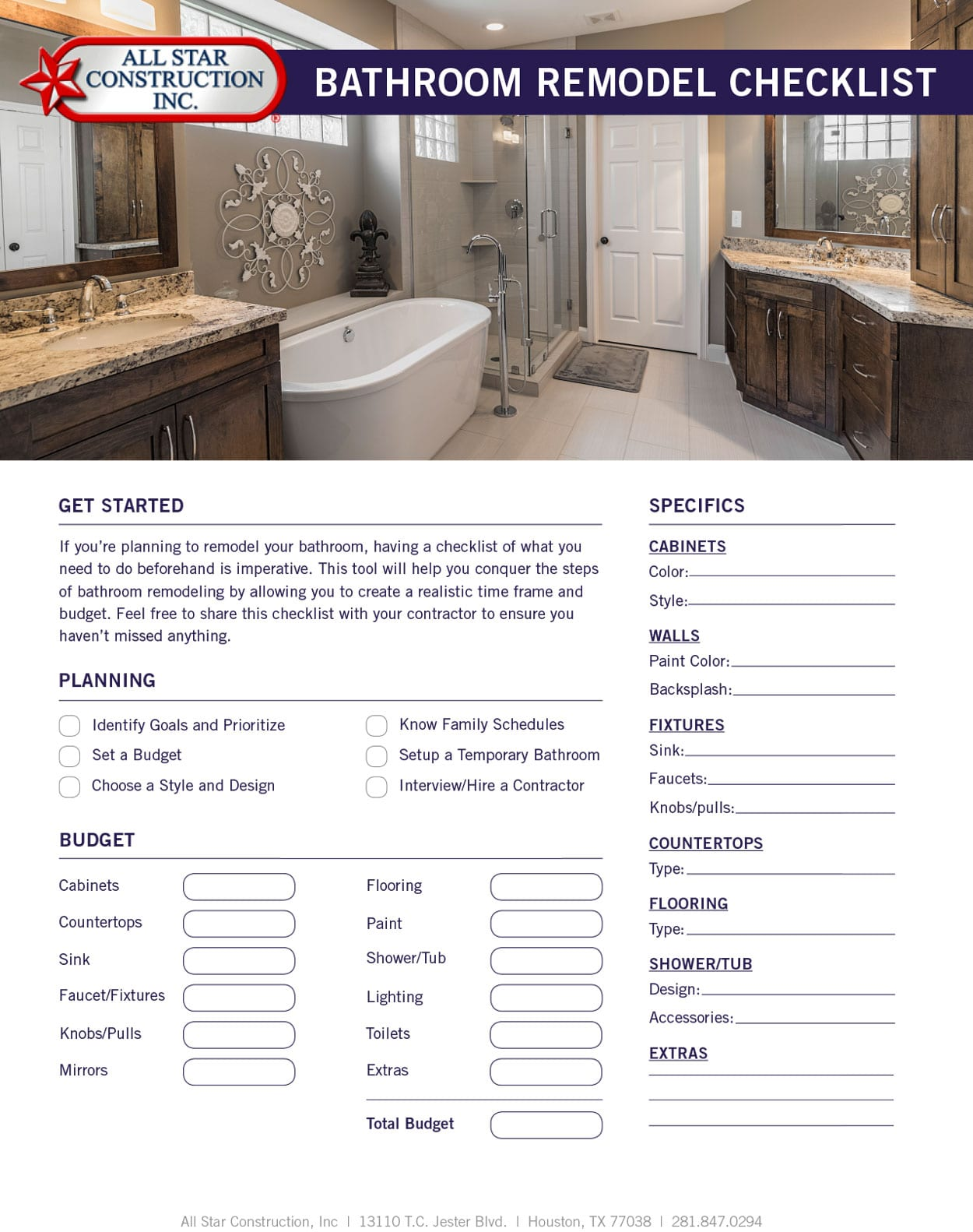 2018 Bathroom Remodel Checklist  All Star Construction