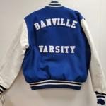 "2"" Individual White Chenille ""DANVILLE VARSITY"" Letters on Royal Blue Felt"