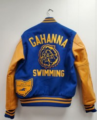 """3"""" Tackle Twill """"GAHANNA"""" with 2"""" Tackle Twill Sport Below; Chenille Lion on Center Back"""