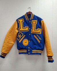 True Royal Wool Varsity Jacket with Bright Gold Leather Sleeves; True Royal Knit Trim with Bright Gold Stripes
