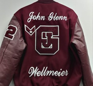 """Embroidered 3"""" Script """"JOHN GLENN"""" and Embroidered 3"""" Script Personal Name Below Letter"""