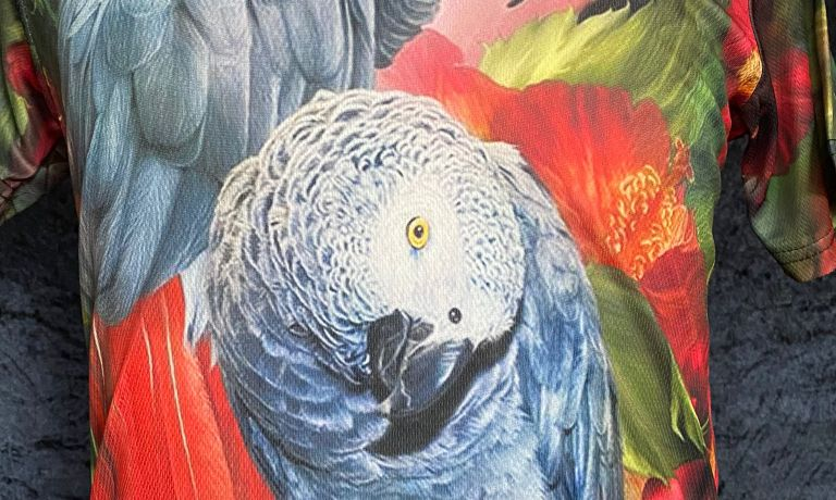 small size African Grey print parrot t-shirt