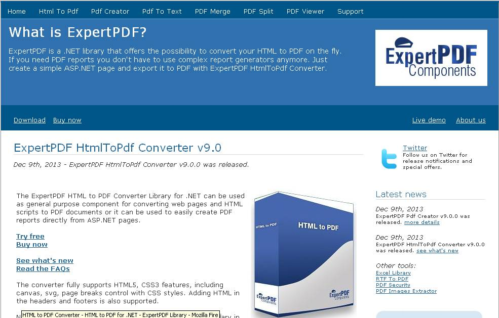 Convert webpages to pdf using expertpdf