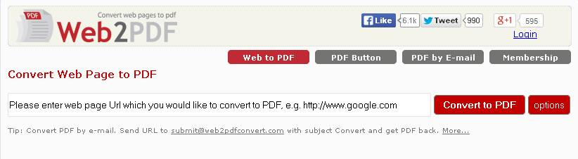 Convert webpages to pdf using web2pdfconvert