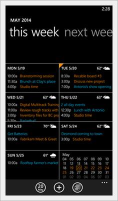 Windows Phone 8.1 Calendar