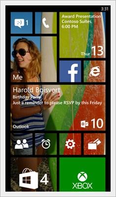 Windows phone 8.1 start screen