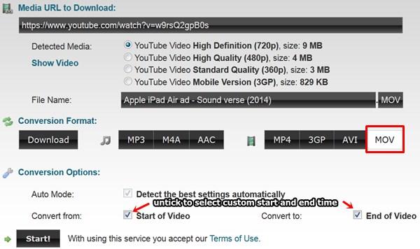 convert youtube videos using online video converter - Clipconverter.cc - select format