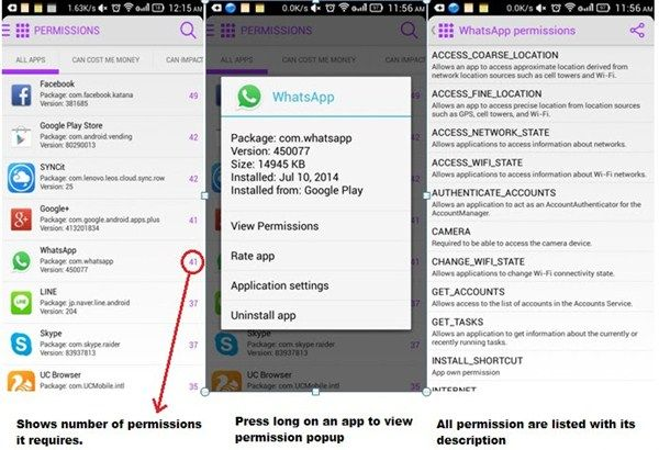 android app permissions - display f-secure permission
