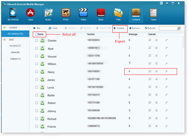 Vibosoft Android Mobile Manager - Manage Contacts