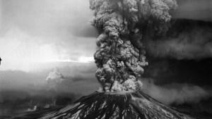 Mount Saint Helens eruption aerial photo