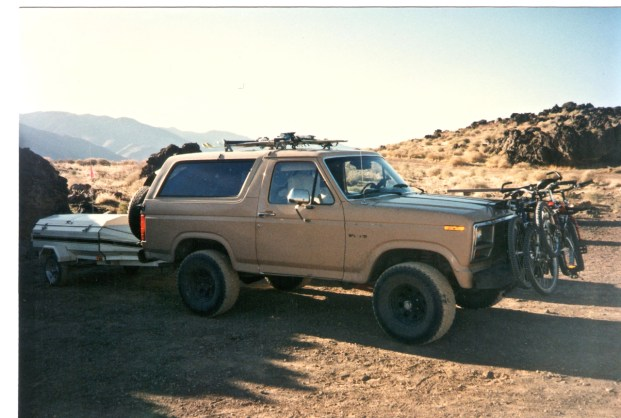 1983 Ford Bronco with Aerotow Camping trailer