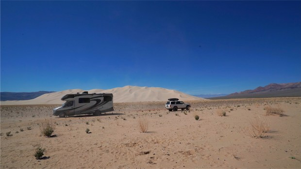 RV stuck in sand at Eureka Dune