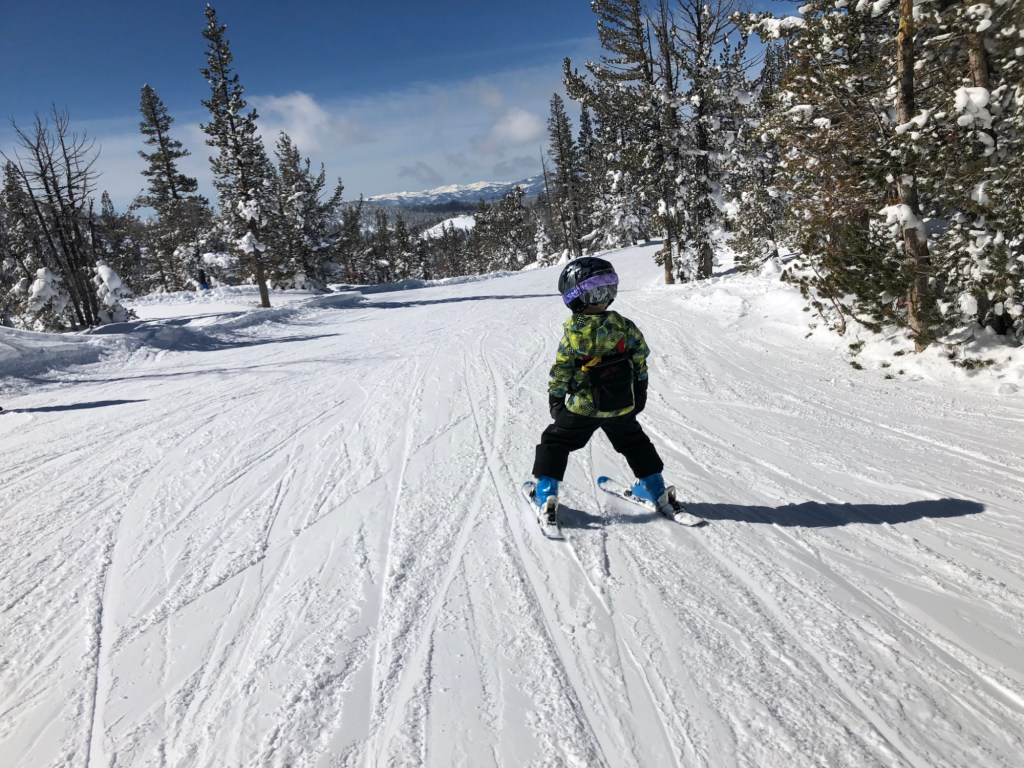 Skiing with kids is fun