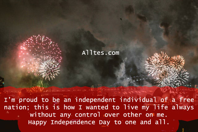 I'm proud to be an independent individual of a free nation