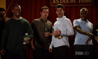 Favorite Bromance (C): Nick, Schmidt, Winston and Coach - New Girl. It's not a bromance, it's a double bromance! (Wooh, oh my god, double bromance all the way! All the way through the sky! --- Brownie points for anyone who recognizes a reference)